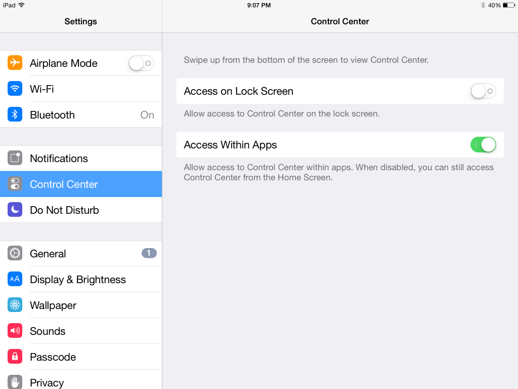 how to access control center within apps in iOS 2