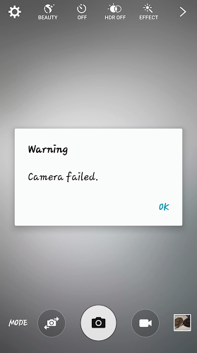 Galaxy S6 camera failed  gs6 active