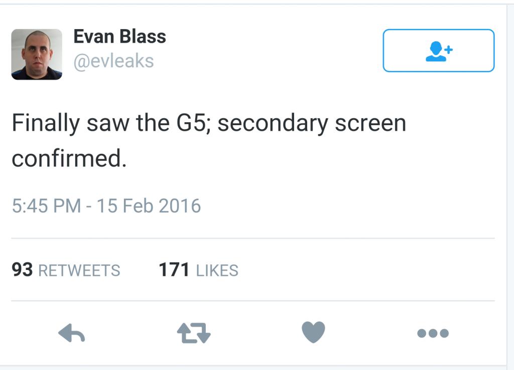 LG G5 secondary display