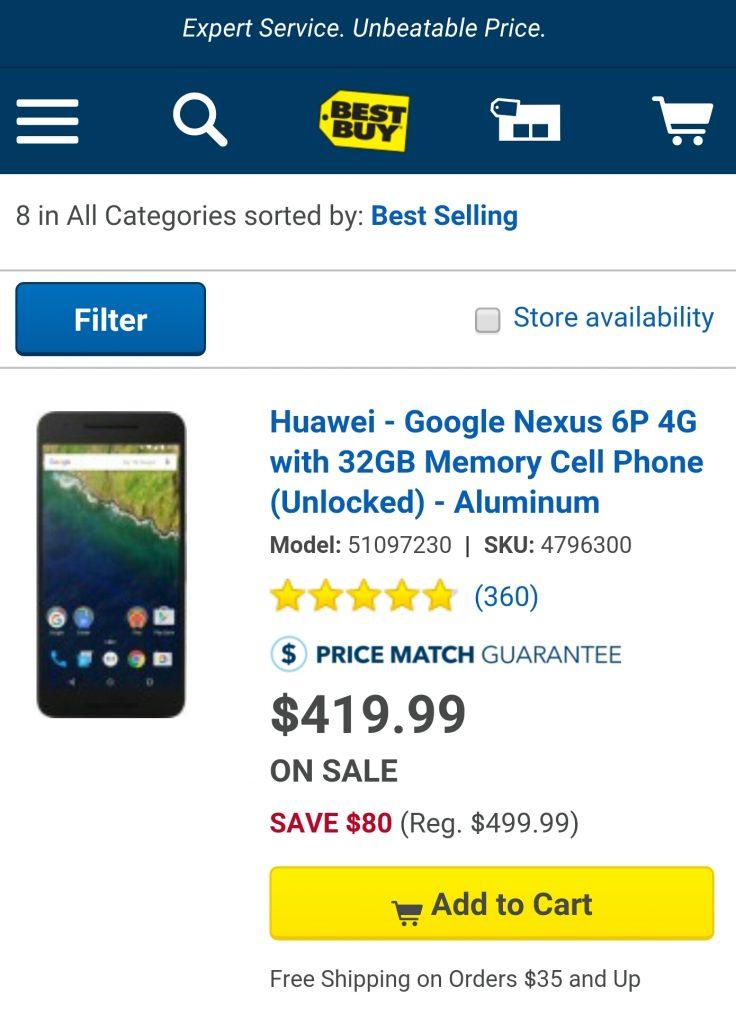 Nexus 6P price drops $80 best buy