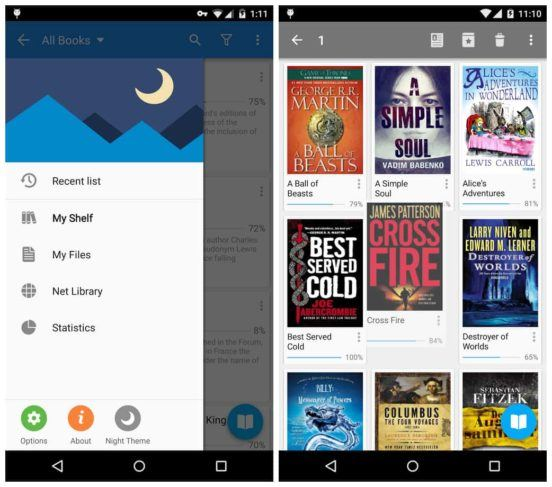 Moon reader pro review aptgadget it is possible to download books from online libraries cloud storage or from the device memory once you open a book you can adjust the reading settings fandeluxe Images
