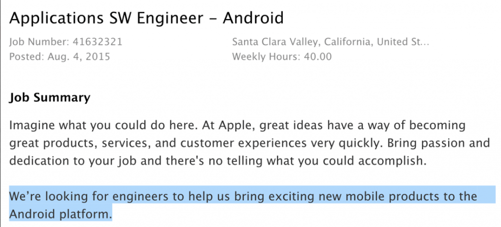 Apple Android software engineer