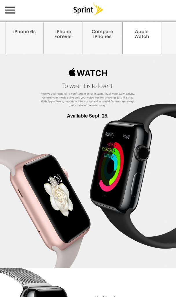 Apple Watch Sprint iPhone 6s pre-order announcement