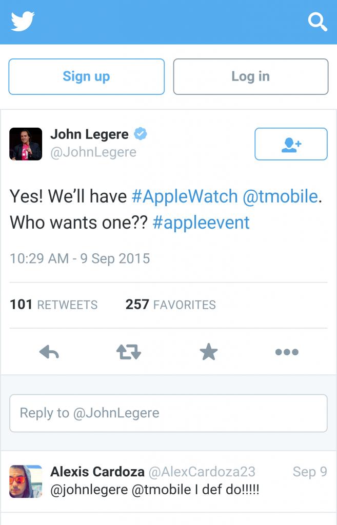 Apple Watch T-Mobile announcement John Legere Twitter