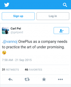 Carl Pei OnePlus Twitter comment