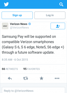 Verizon signs on with Samsung Pay