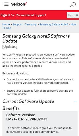 Verizon Galaxy Note 5 security update
