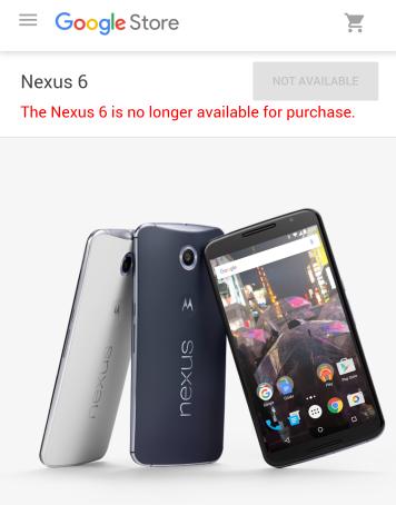 Nexus 6 no longer for sale at Google Store