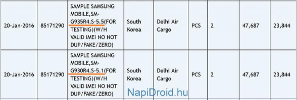 Galaxy S7 and Galaxy S7 Edge shipping confirmation Zauba