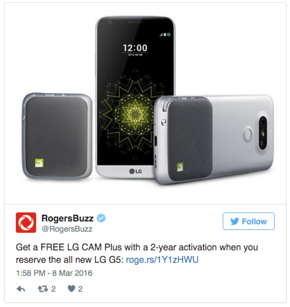 LG G5 cam plus free deal Rogers Canada