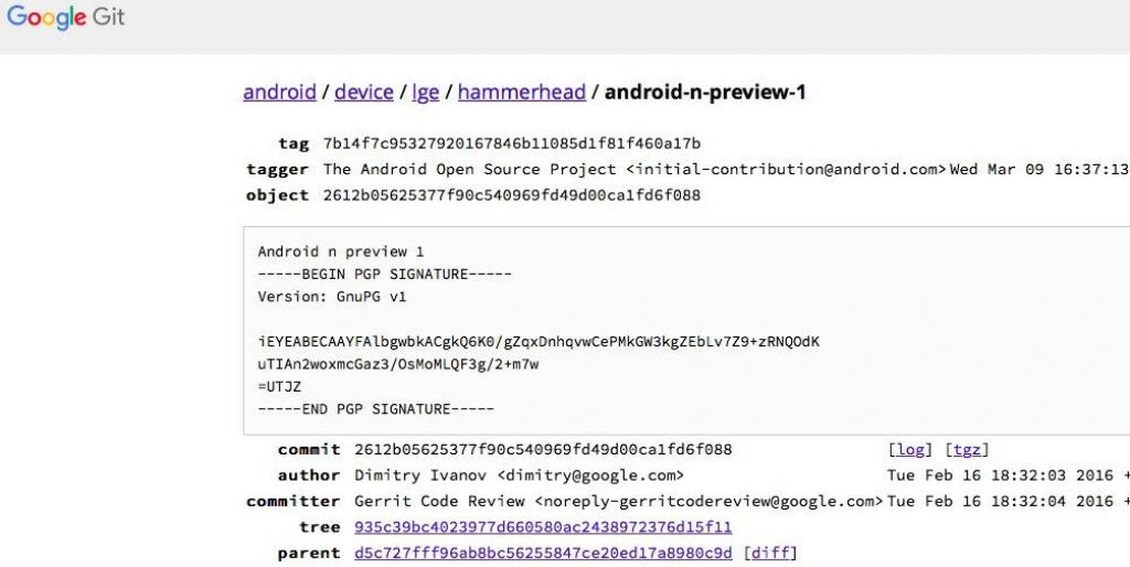 Android N Nexus 5 code