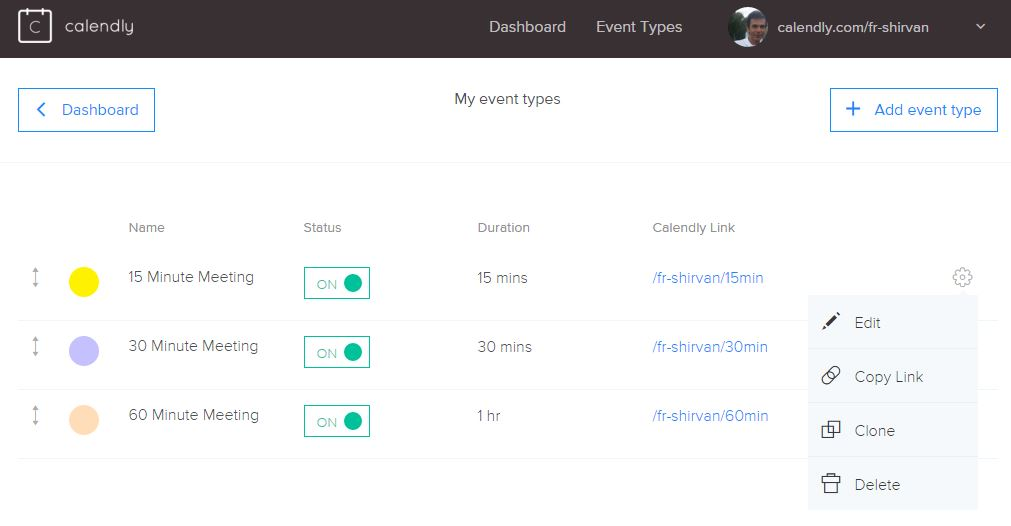 customize calendly event