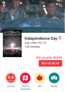 Independence Day Deal Google Play Movies