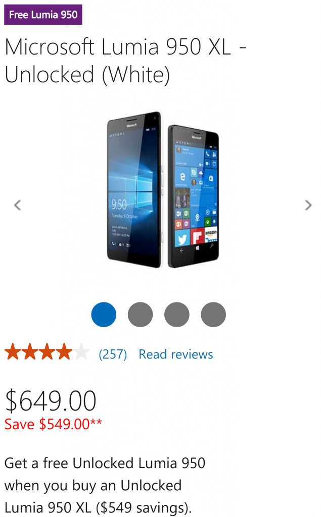 950 XL and free Lumia 950
