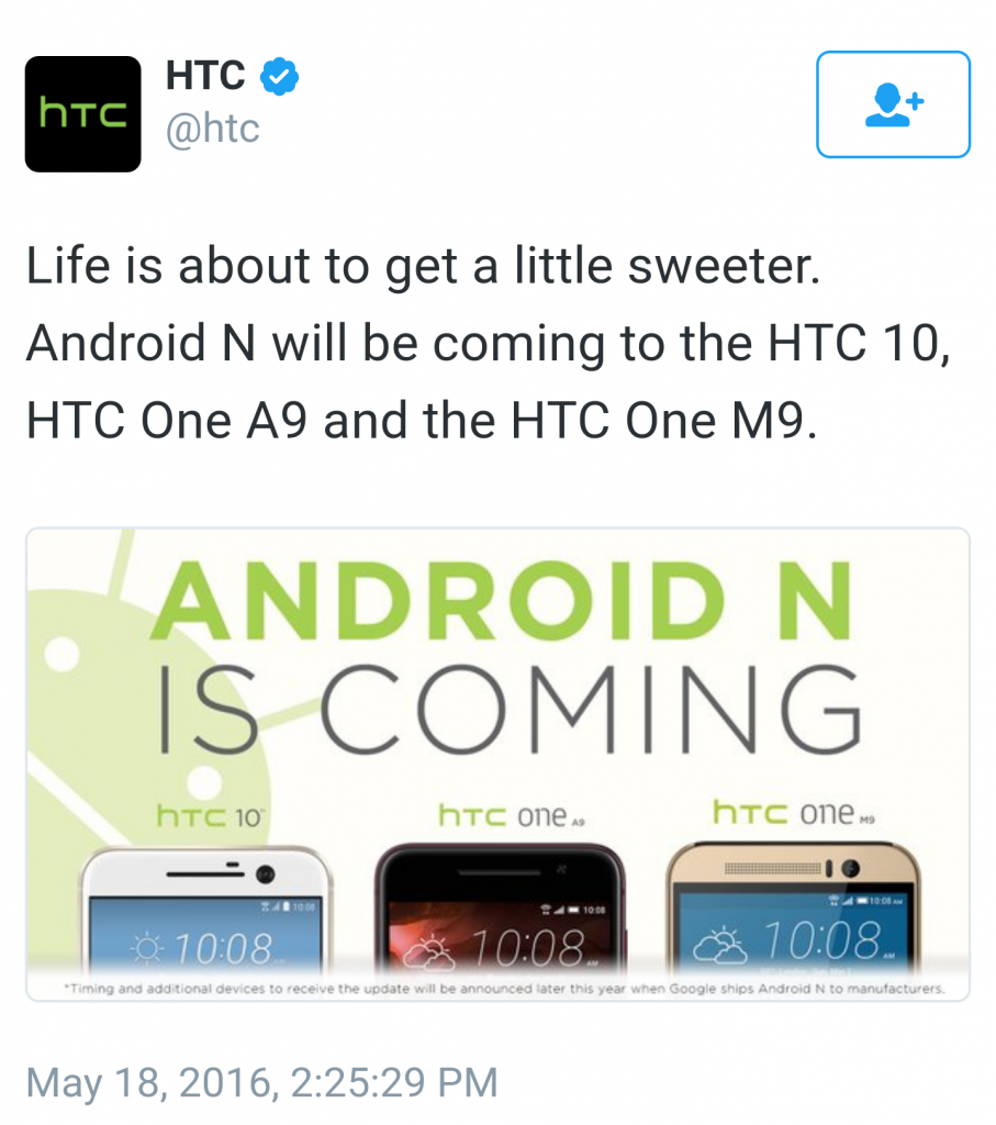 Android N HTC announcement