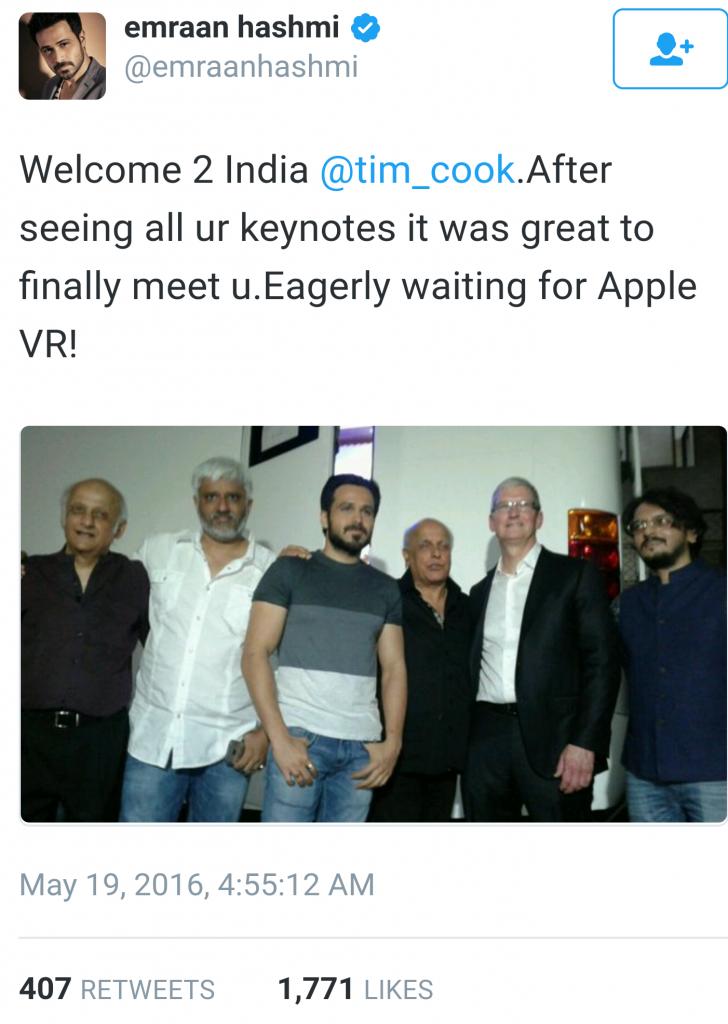 Apple VR Twitter mention