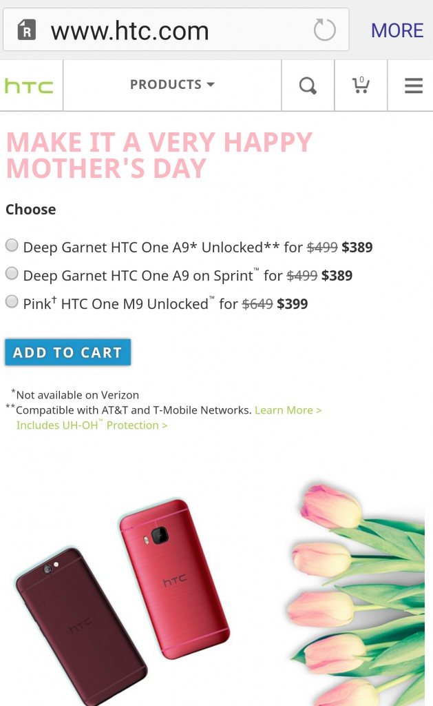 HTC One M9, A9 deal for Mother's Day 2016