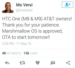 AT&T HTC One M9, M8 Android Marshmallow