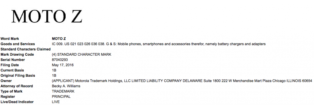 Moto Z trademark patent Motorola