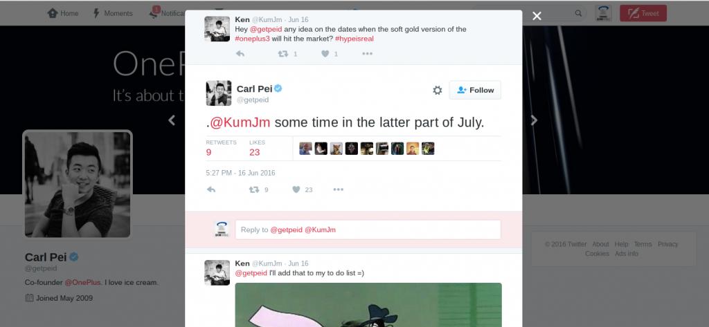 Gold OnePlus 3 Twitter response