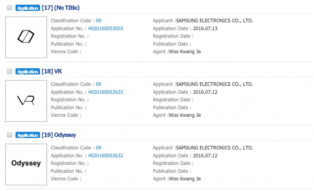 Samsung standalone VR headset patent filings