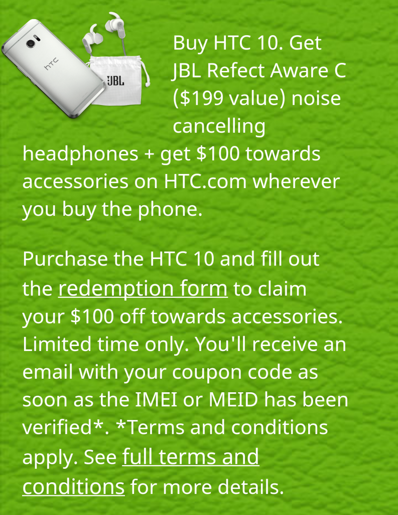 HTC 10 deal free JBL noise cancelling headphones