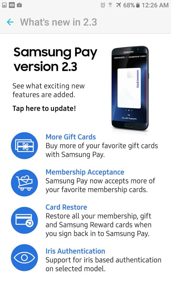 Samsung Pay 2.3 update iris authentication