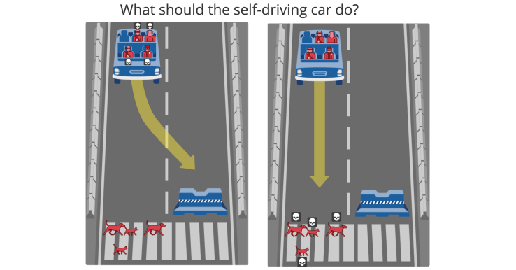 Self Driving face with trolley problems