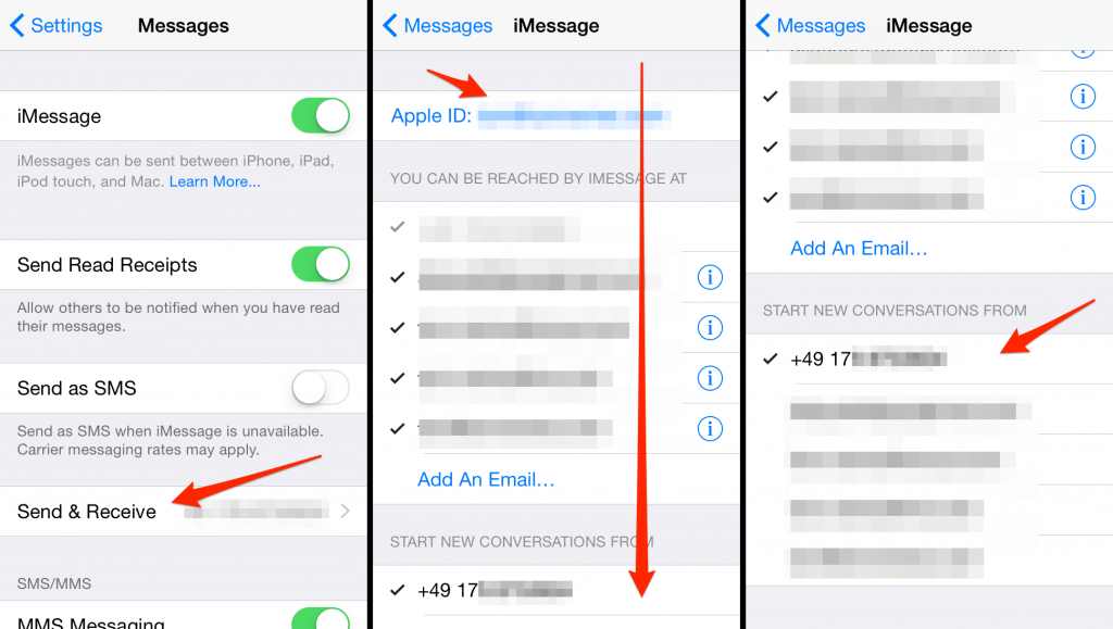 iphone wont send imessage how to fix imessage sent from email address instead of 15558